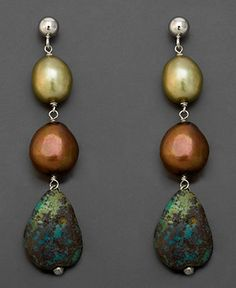 Sterling Silver Earrings, Turquoise and Cultured Freshwater Pearl Drop - Earrings - Jewelry & Watches - Macy's
