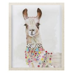 Showcase your eccentric taste with this funky Embellished Llama Framed Wall Art, illustrated in watercolour-style and encased in a light-wood frame