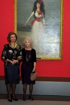 (L-R) Queen Sofia of Spain and Duchess of Alba, Cayetana Fitz-James Stuart attend 'El Legado Casa de Alba' Art exhibition on 18 Dec 2012