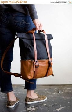 The Ace Backpack in Caramel Leather & Black Waxed Canvas - Unisex Travel Bag Rucksack - Awl Snap Leather Goods Backpack Straps, Backpack Bags, Messenger Bags, Waxed Canvas, Canvas Leather, Black Backpack, Tan Leather, Leather Bags, Fashion Bags