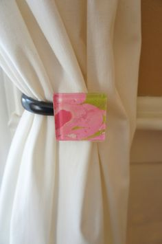 Curtain Tie back made using a glass tile and marbelized paper. Preppy pink and green!