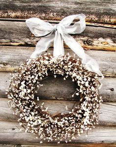 ANTIQUE WHITE & SILVER Wedding Wreath-Inspired Vintage Rustic Berry Wreath-Cottage Garden Wedding-Scented Vanilla-Choose Scent- Ribbon Color. $59.00, via Etsy.