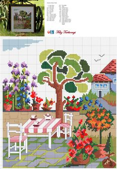Bahçeye masa sandalye de gerekli, ama tahta olanından :) Designed and stitched by Filiz Türkocağı...