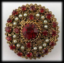 Vintage Austrian Filigree Brooch Ruby Colored Rhinestones Faux Pearls