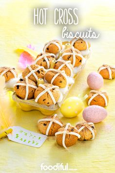 If you are a fan of the hot cross bun, try another recipe – the hot cross bun biscuit. With the spice and dried fruit you love in the bun version, these biscuits are even finished with a royal icing criss-cross on top! They take 50 minutes to make, and with 24 in each batch, are a fabulous Easter gift!