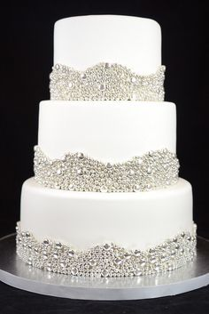 Elegant Wedding Cake with Silver Dragees Borders | Flickr - Photo Sharing!