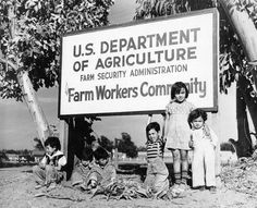 Mexican migrant children. In the 1940's, they lived in communities sponsored by the government as they moved from place to place.