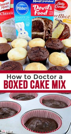 Our favorite Tips and Tricks on How to Doctor a Boxed Cake Mix! We show you how to improve and work with cake mixes to make them taste just like homemade but even better. If you are looking for how to make a box cake mix taste delicious – this[. Box Cake Recipes, Cupcake Recipes, Baking Recipes, Cupcake Cakes, Dessert Recipes, Cake Mix Cupcakes, Baking Ideas, Cake Mix Desserts, Cake