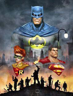 The Dark Knight: Batman, Robin, and Superman by Dave Wilkins (DC comics) Batman Et Superman, Batman Dark, Batman The Dark Knight, Batman Robin, Comic Book Characters, Comic Book Heroes, Comic Books Art, Comic Art, Book Art