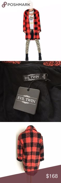 "NWT Evil Twin XS (RUNS LARGE) The Kennedy Coat NWT The Kennedy Coat by Evil Twin. From the Dollskill website, ""Evil Twin The Kennedy Coat is gonna keep people talkin' long after yew ain't around. This gorgeous wool coat is super comfy with it's relaxed fit, dual pockets and long sleeves. Featuring a pretty plaid print and statement exaggerated collar, yer sure to become more than a rumor."" Jacket is approximately 39"" long, armpit to armpit is 22. Size xs; would also fit a small/med…"