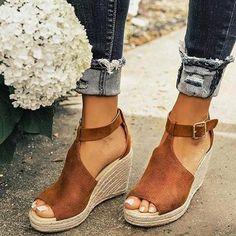 874bffe15784 Women Chic Espadrille Wedges Adjustable Buckle Sandals Brown Sandals
