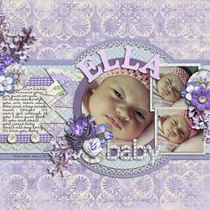 Sweet Lavender Baby Girl Layout...with journaling.
