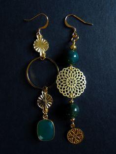 Green Agate, Green Onyx, Agate Beads, Brass, Drop Earrings, Gemstones, Personalized Items, Future, Handmade