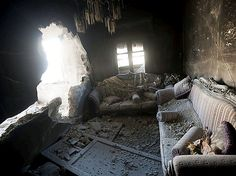 An apartment destroyed by tank shelling, in a building in the Karm al-Jabel neighborhood after several days of intense clashes between rebel fighters and the Syrian army in Aleppo, on October (AP Photo/Narciso Contreras) Syrian Civil War, Photo Report, Win Prizes, Online Images, Abandoned Places, The Neighbourhood, Beautiful Pictures, The Incredibles, Building