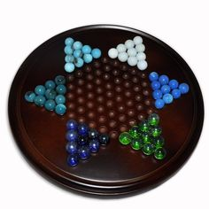 Wooden Chinese Chekcer Board Game with Balls: Toys & Games