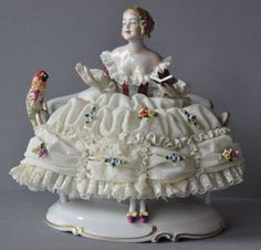 Lovely Porcelain Lace Figurine with Bird Dresden Unterweissbach Germany