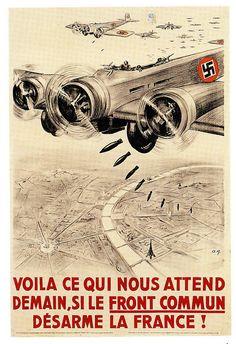 https://flic.kr/p/8JkxKK | Nazis Bomb Paris | A French anti-disarmement poster from 1939.