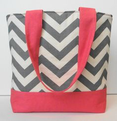 Summer Gray Chevron and Coral Tote by WrapItUpByG on Etsy, $29.00