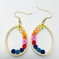 Tear drop earrings  quilled earrings  multi by DKBrownCreations