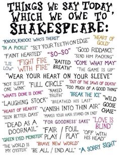 April is also UN English Language Day. The impact that Shakespeare had on the English language was huge. All of these words and phrases were used for the first time by Shakespeare. The Words, Writing Prompts, Writing Tips, Things We Said Today, E Mc2, Cs Lewis, Teaching English, Primary Teaching, Teaching Spanish