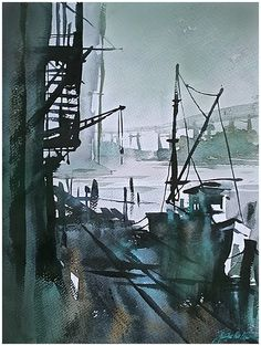 """""""industrial landscape in green"""" thomas w schaller watercolor 22x15 inches 10 aug 2014"""