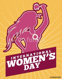 Beauty Woman Silhouette with Hands in High holding a Rose for Women's Day