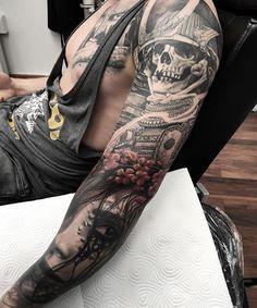Filled some gaps and add a cherry blossom, done for now... #inked #inkedmag #tattoo #tattoolifemagazine #sleevetattoo #skinartmag #tattooart #bnginksociety #savemyink #tattooistartmag