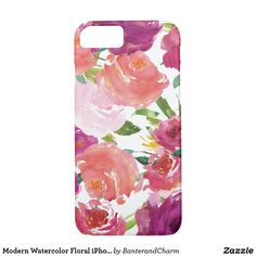 Modern Watercolor Floral iPhone 7 Case @zazzle #zazzle #phone #phonecase #case #shop #shopping #fashion #style #tech #products #accessory #accessories #gift #gifting #giftidea #gifts #men #women #buy #sale #floral #flowers #pink #red #green #watercolor #beauty #beautiful