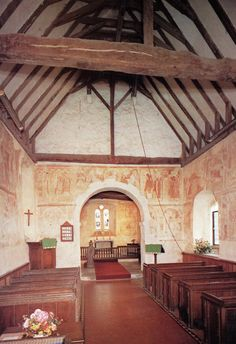 Century Church believed to constructed on the eve of the Conquest (it would have been like the one at Talisand, minus the pews). Botolphs in Hardham Award Winning Books, 11th Century, Britain, Gazebo, England, Construction, Wall Paintings, Outdoor Structures, Knight
