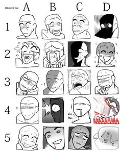 Funny faces reference comic face how to illustrate illustrating draw drawing Drawing Face Expressions, Drawing Faces, Anime Expressions, Drawing Reference Poses, Drawing Tips, Manga Drawing Tutorials, Drawing Techniques, Drawing Ideas, Art Sketches