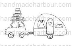 brand new digital stamp - cute car and caravan