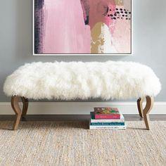 Marilyn Bench & Mongolian Sheep Fur Cover