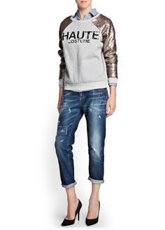 Poleron sudadera sweater lentejuelas gris MANGO