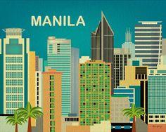 Manila, Philippines Skyline - Retro horizontal illustration print for home, gifts, nursery, offices, dorm art E8-O-MAN on Etsy, $26.00