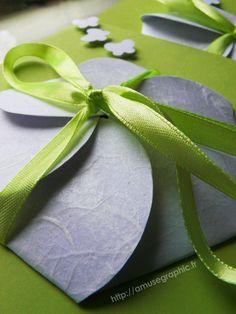 50 Faire-part forme fleur je l'aime blanc et vert : Faire-part par a-muse