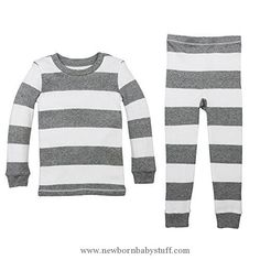 Baby Girl Clothes Burt's Bees Baby Baby Organic 2 Piece Pajama Set, Heather Grey Rugby Stripe, 24 Months