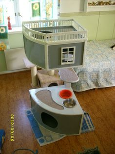 Here is a cathouse that i kinda just conjured together without any plan. I had some particleboard from a cheap broken desk, a few pieces of plywood, some popsicle. Cat Towers, Animal Room, Cat Room, Cat Cafe, Cat Condo, New Beds, Cat Furniture, Dog Houses, Diy Stuffed Animals