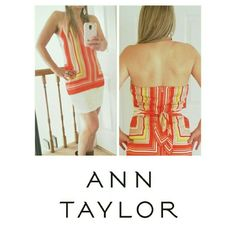 ANN TAYLOR HALTER TOP PERFECT SUMMER HALTER TOP WITH A TOUCH OF THE OCEAN. *WORN ONCE *INCLUDED COLORS: ORANGE, WHITE, RED, LIGHT BROWN, YELLOW * BACK ZIPPER SIZE: 10 IN LONG *BLOUSE 30 INCH LONG ( I'M  5'2 IN THE PIC) Ann Taylor Tops Tank Tops