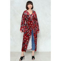 Nasty Gal For the Long Haul Velvet Kimono ($35) ❤ liked on Polyvore featuring intimates, robes, red, print kimono, long floral kimono, red robe, long robe and kimono robe