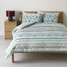 Large image of Wilko Stripe Stitched Duvet Set Blue  Kingsize - opens in a new window  £22