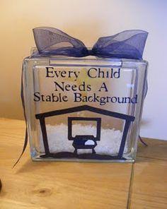 "My grand girls!!! Glass block nativity ""stable background"""