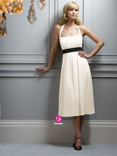 A-Line Halter Ruffles Sleeveless Tea-Length Chiffon Bridesmaid Dresses (UK018798 )