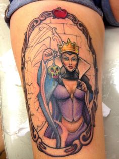 Evil Queen from snow white. Done at Red Sky Tattoo in Castle Rock, CO by Jim Karanik