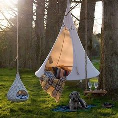 Ah, the art of glamping. Combining chic ideas with the outdoors, glamping is a way to have fun and be comfortable. Not quite camping yet not quite a s. Outdoor Fun, Outdoor Spaces, Outdoor Living, Outdoor Decor, Outdoor Lounge, Outdoor Beds, Outdoor Camping, Hanging Tent, Hanging Chairs