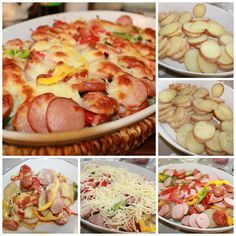 Delicious sausage pan - for the enjoyment of young and old Norwegian Food, Dinner Is Served, Tapas, Cake Recipes, Bacon, Dinner Recipes, Food And Drink, Lunch, Healthy Recipes