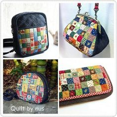 Patchwork Bags, Quilted Bag, Japanese Bag, Pouch, Wallet, Running Stitch, Refashion, Mini Bag, Purses And Bags