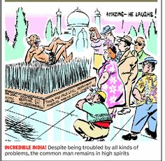 From the 1954 - 2010 - Indians are the most optimistic. Cartoon by RK Laxman, Times of India.