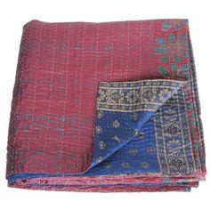 kantha silk sari blanket sitala_fairtrade