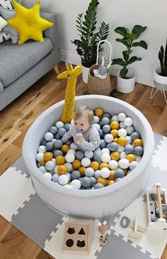 Mini Be Ball Pit - Mustard/Grey - The Modern Nursery Manhattan project cuna se ha Baby Bedroom, Baby Boy Rooms, Baby Boy Nurseries, Nursery Room, Baby Playroom, Modern Nurseries, Kids Rooms, Baby Room Design, Baby Decor