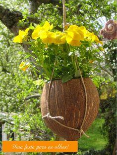 Você toma a água, come a polpa e ainda usa a casca pra fazer um vaso lindo. Tudo se aproveita dessa fruta que é um verdadeiro presente da natureza. Já tinha visto acessórios e algumas peças feitas em casca de coco, mas este vaso suspenso ganhou toda a minha graça.